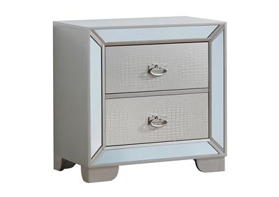 Gray 2 Drawer Mirror Tile Frame Nightstand