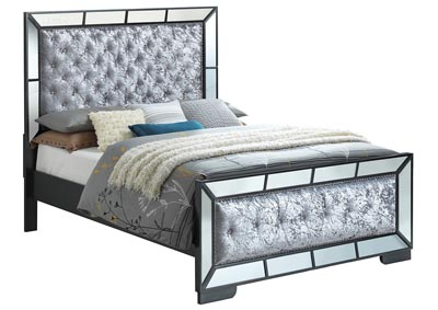 Black Mirror Tiled Framed King Panel Bed