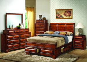 Six Drawer Cherry Queen Upholstered Storage Bed w/Dresser and Mirror