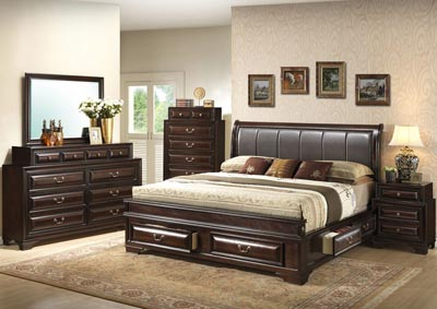 Cappuccino Queen Upholstered Bed w/ 6 Drawers, Dresser & Mirror