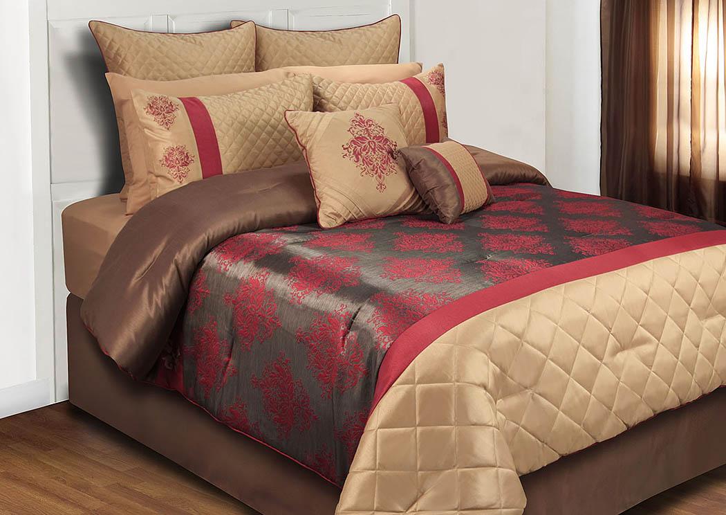 Monarch Burgundy Gray Tan Damask Pattern 8 Piece Queen Comforter Set Renaissance Philadelphia Pa