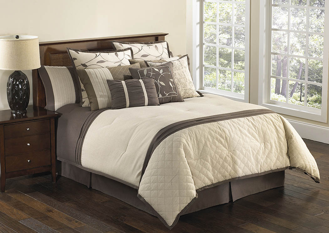 Verbena Brown/Tan 9 Piece Linen Queen Comforter Set Renaissance