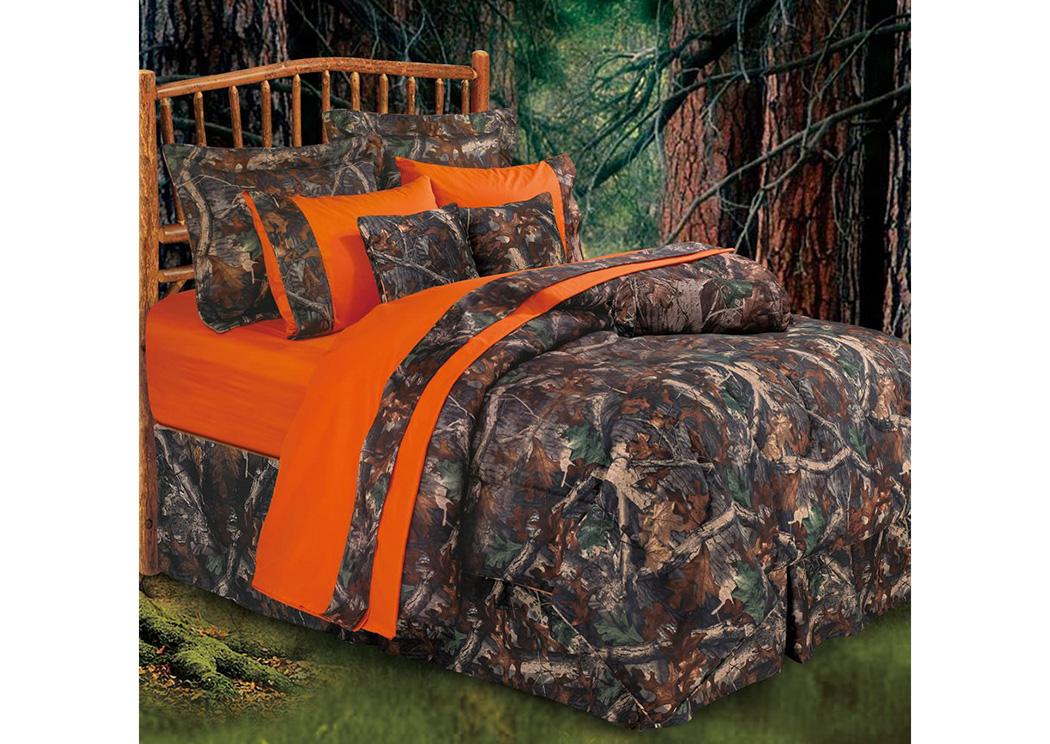Oak Camo Queen Bedding Set Renaissance, Orange Camo Queen Bedding
