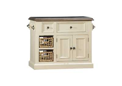 Image for Tuscan Retreat Country White Granite Top Kitchen Island with 2 Baskets