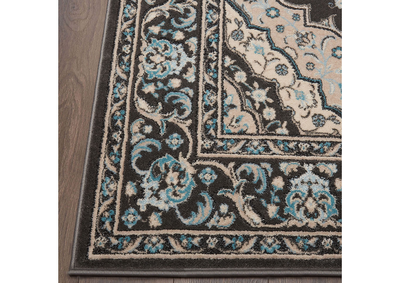 "Home Dynamix Oxford Caspian Traditional Area Rug 5'2""x7'2"" Medallion Gray/Beige/Blue,Home Dynamix"