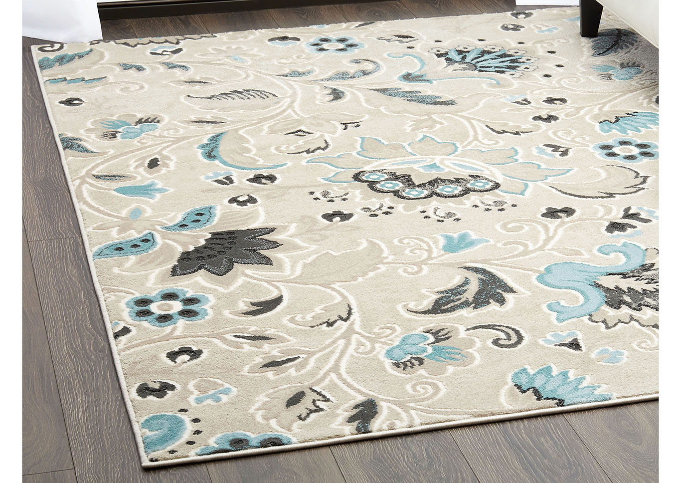 "Home Dynamix Oxford Erie Transitional Area Rug 5'2""x7'2"" Floral Beige/Ivory/Blue,Home Dynamix"