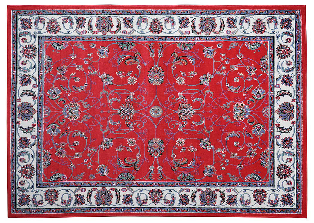 "Premium Red-Ivory Pattern Rug 5.2"" x 7.4"",Home Dynamix"