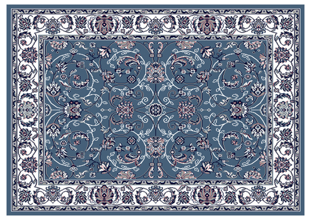"Premium Blue-Ivory Pattern Rug 5.2"" x 7.4"",Home Dynamix"