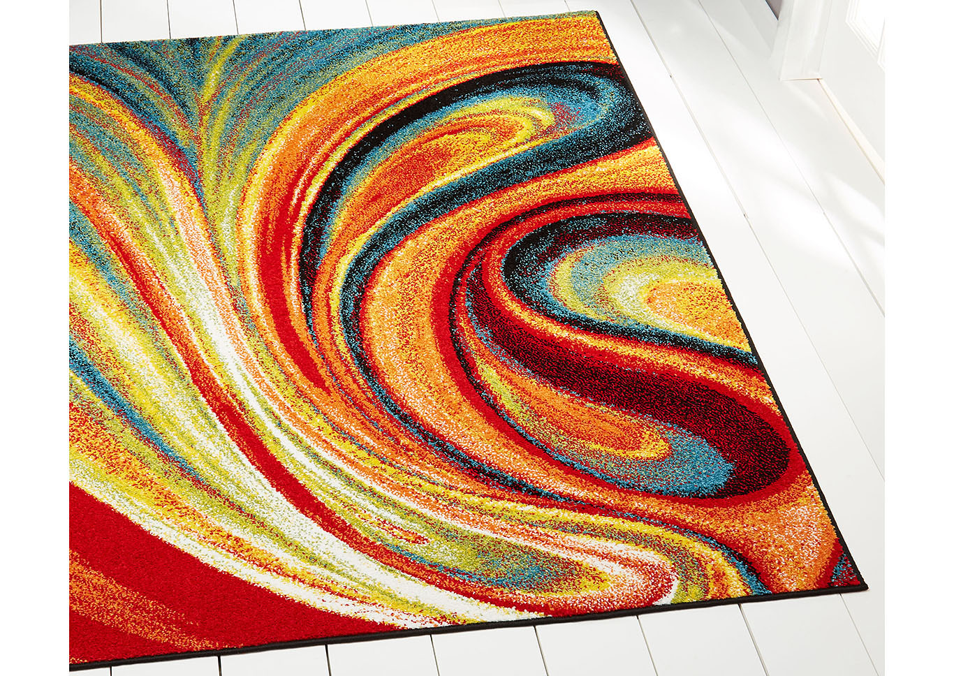 "Home Dynamix Splash Adja Contemporary Area Rug 5'2"" Round Abstract Red/Blue/Green,Home Dynamix"
