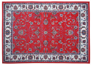 "Premium Red-Ivory Pattern Rug 5.2"" x 7.4"""