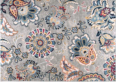 Home Dynamix Tremont Lincoln Bohemian Area Rug 7 10 Round Floral Gray Red Ivory 5th Avenue Furniture Mi