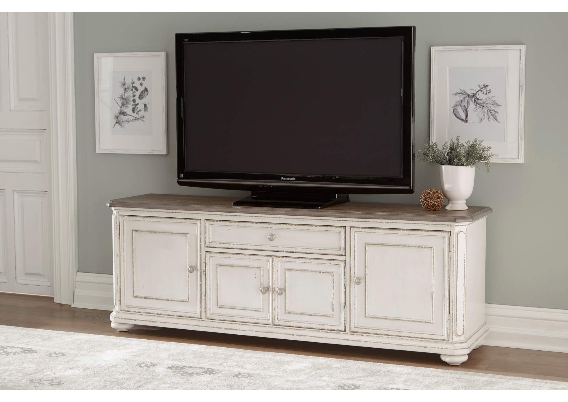Willowick Antique White & Cherry TV Stand,Homelegance
