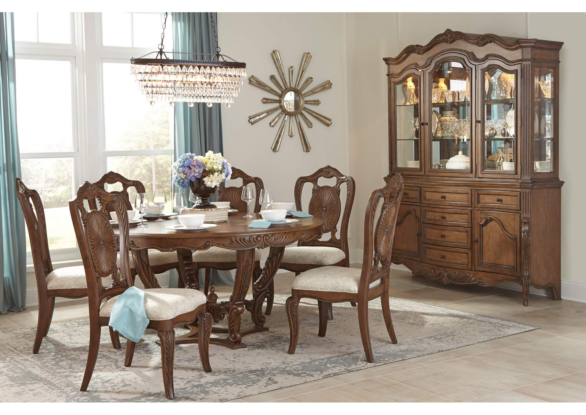 Brown Round Dining Table,Homelegance