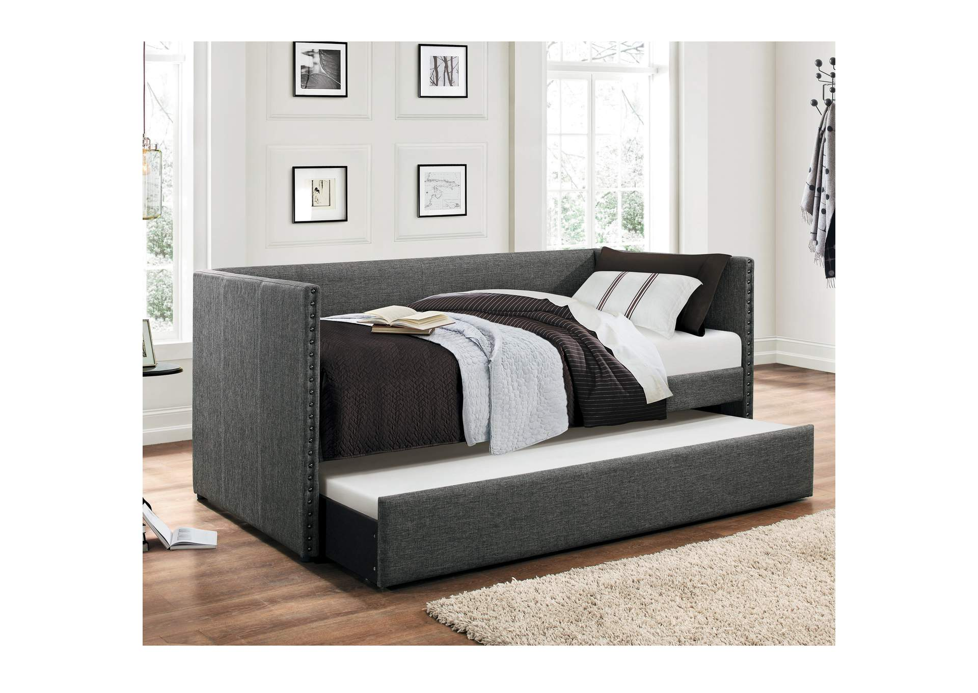 Therese Grey Daybed W/ Trundle,Homelegance