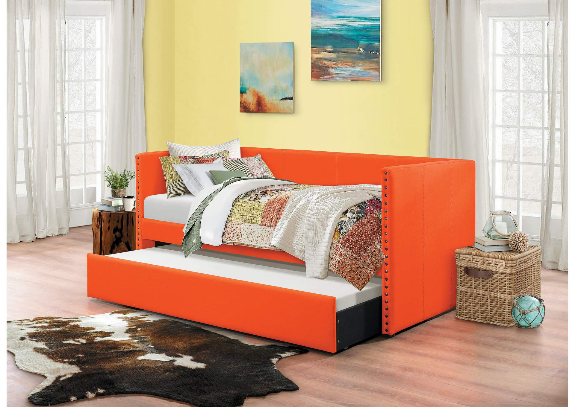 Therese Orange Daybed W/ Trundle,Homelegance