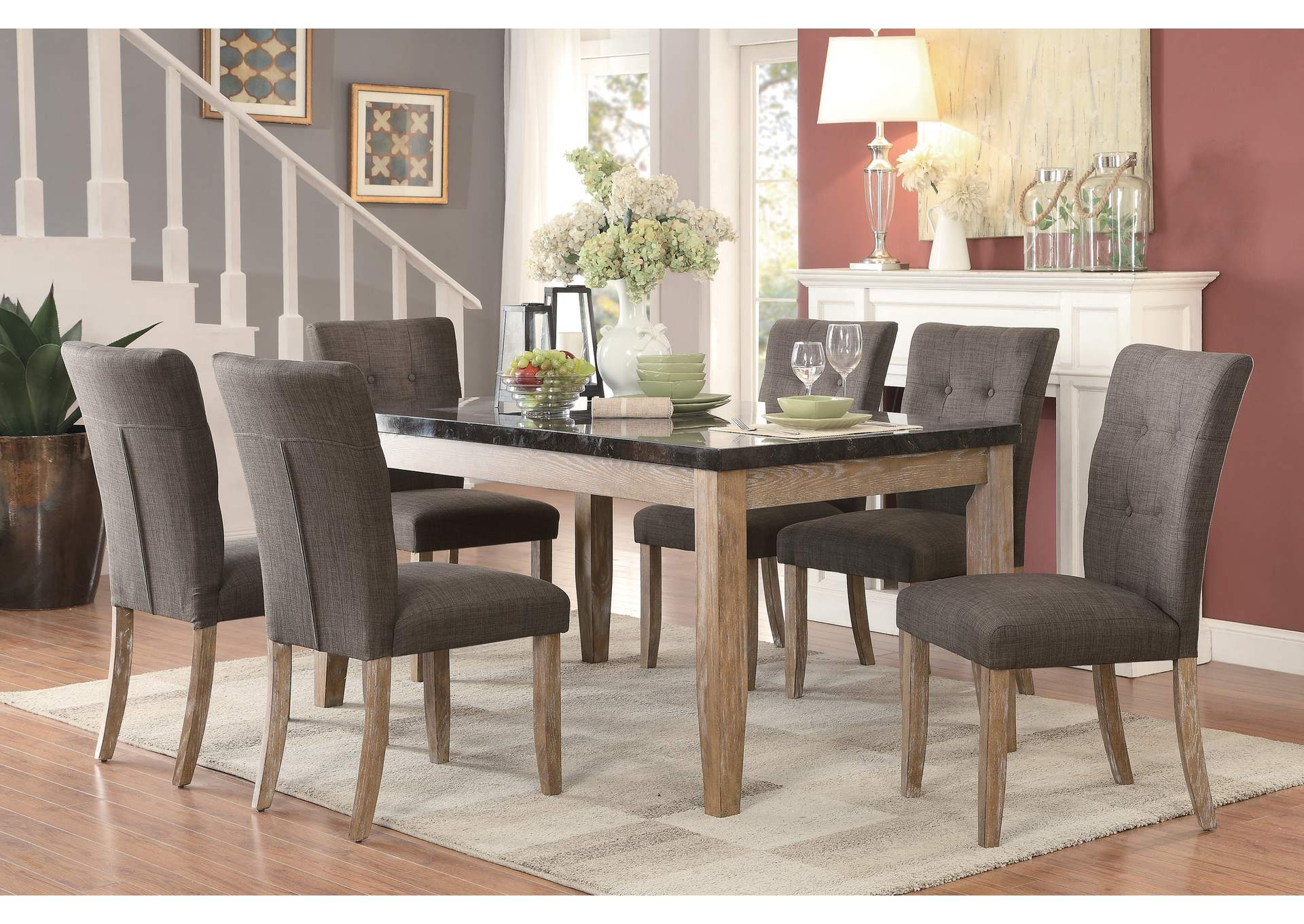 Grey Dining Table, Faux Marble Top,Homelegance