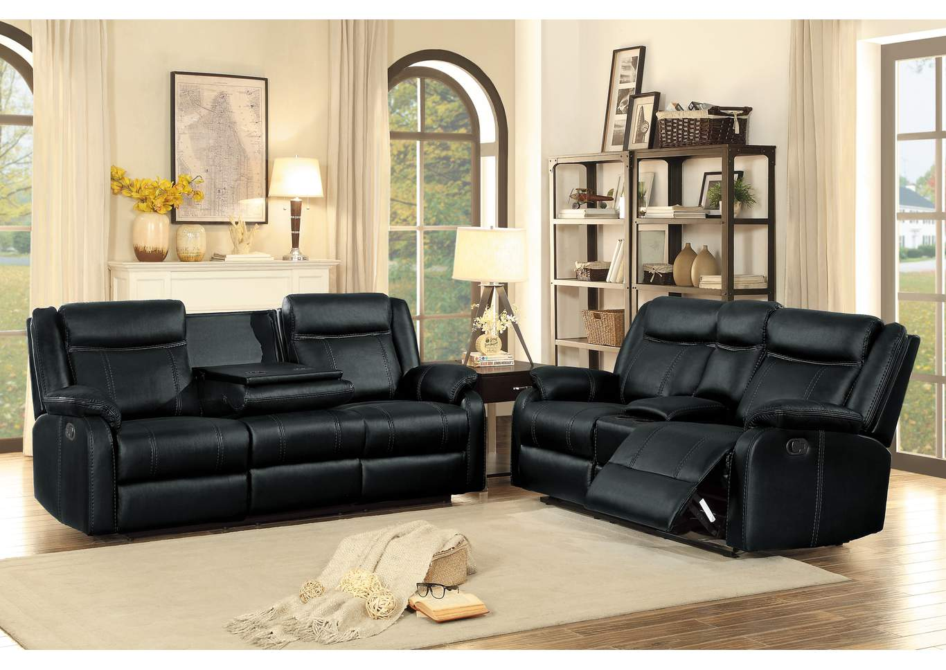 Black Double Reclining Sofa with Center Drop-Down Cup Holders,Homelegance