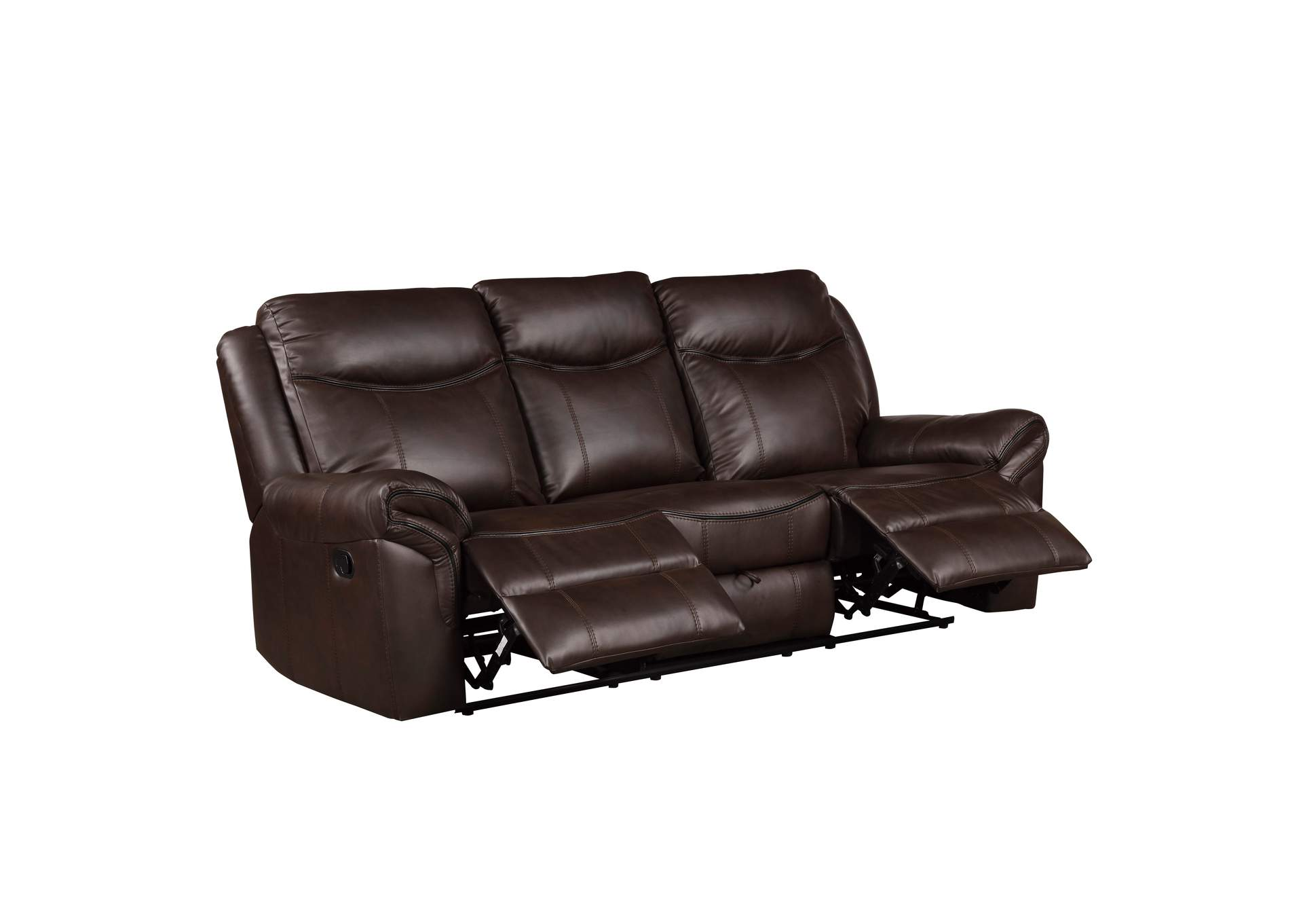Dark Brown Double Reclining Sofa with Center Drop-Down Cup Holders, Receptacles, Hidden Drawer and USB Ports,Homelegance