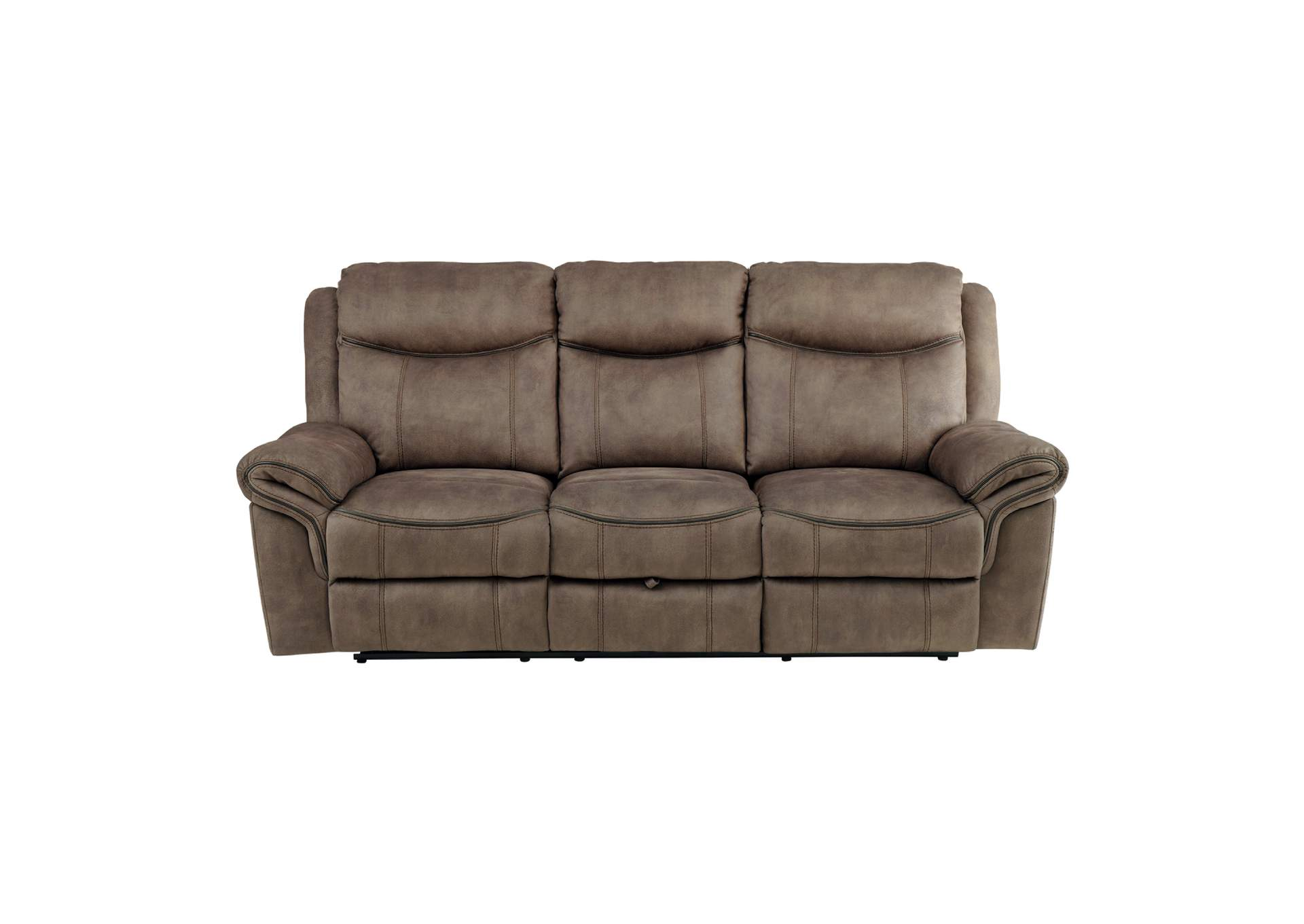 Picture of: Brown Double Reclining Sofa With Center Drop Down Cup Holders Receptacles Hidden Drawer And Usb Ports The Furniture Loft