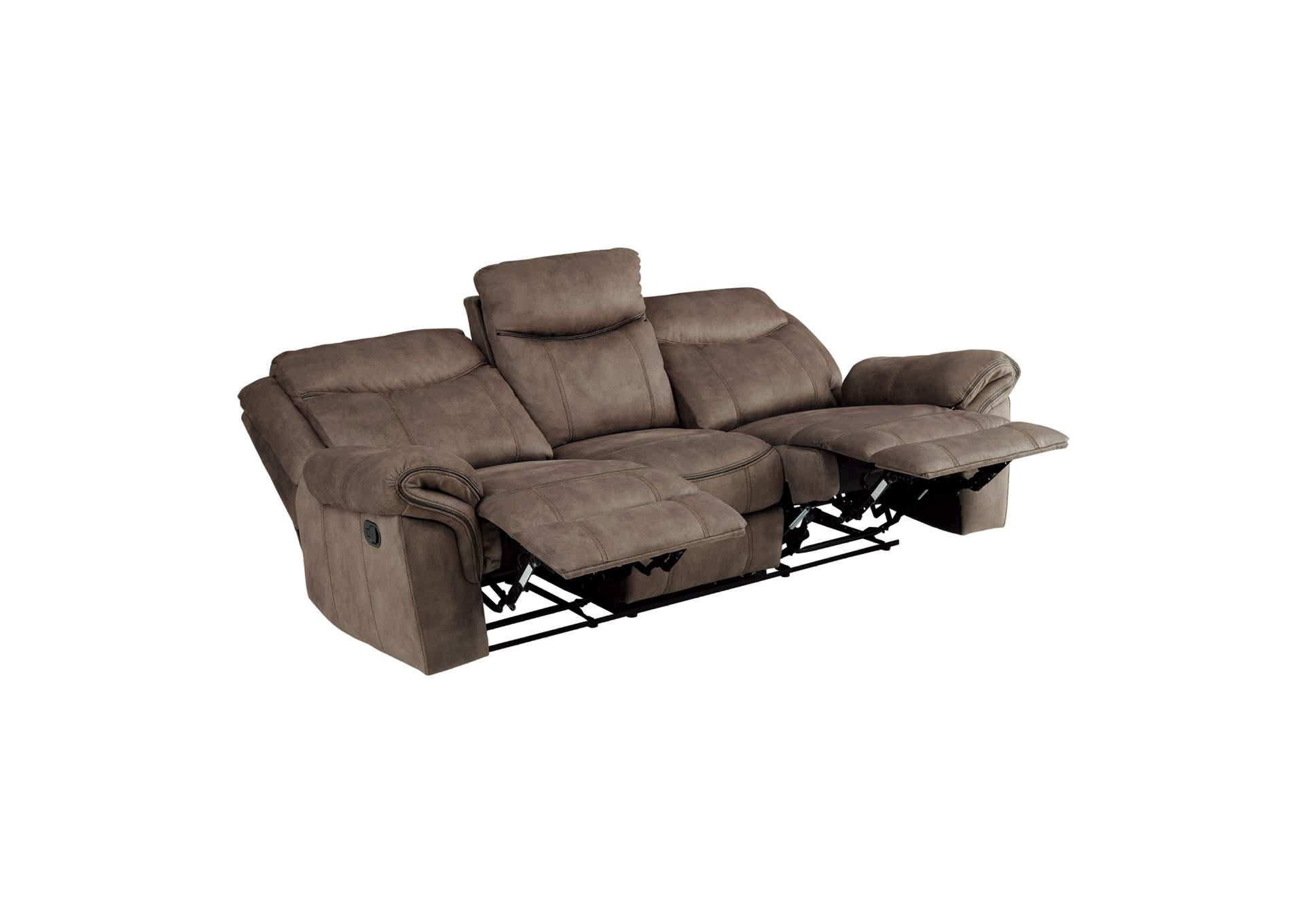 Brown Double Reclining Sofa With Center Drop Down Cup Holders Receptacles Hidden Drawer And Usb Ports The Furniture Loft