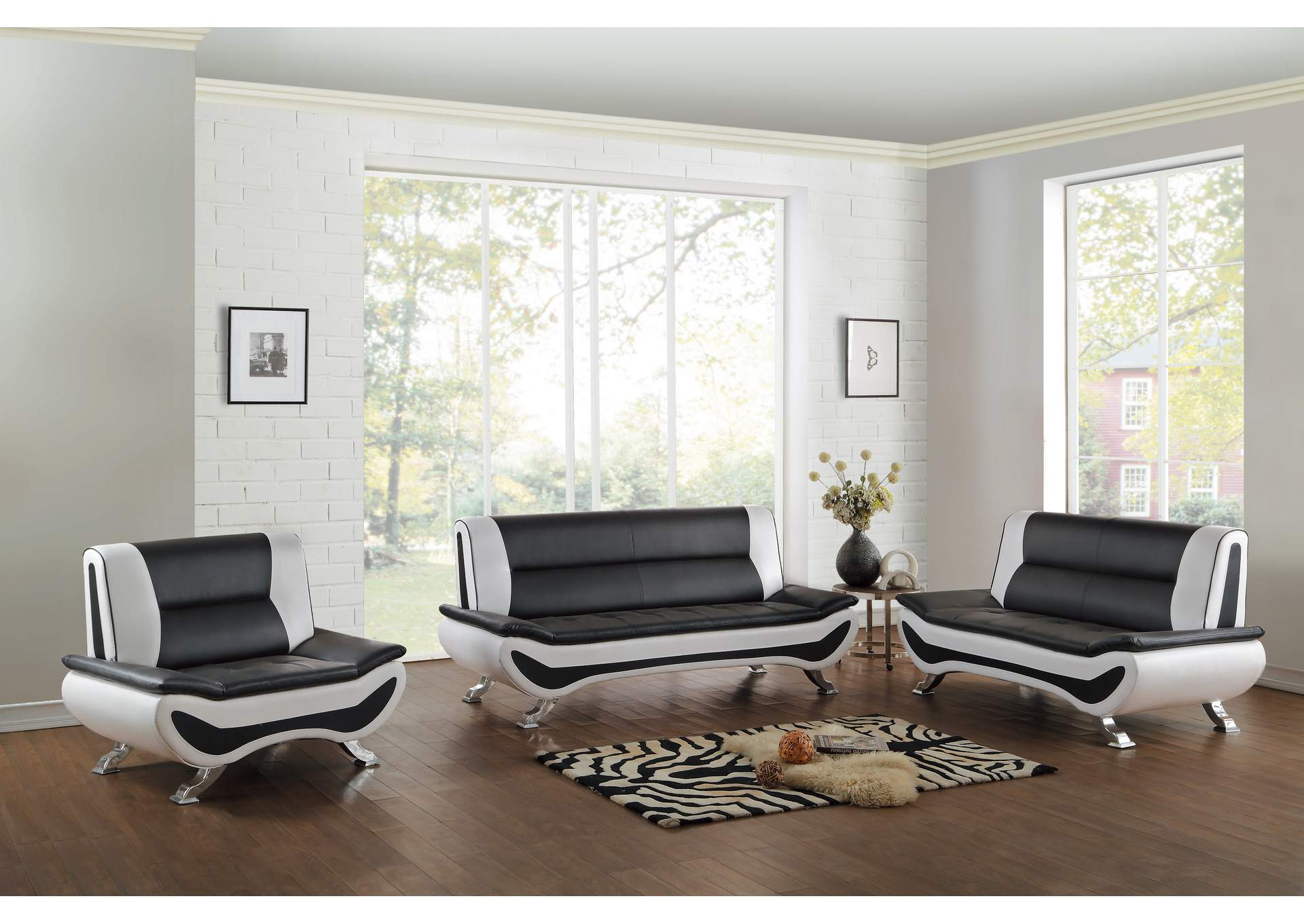 Veloce Black & White Sofa,Homelegance