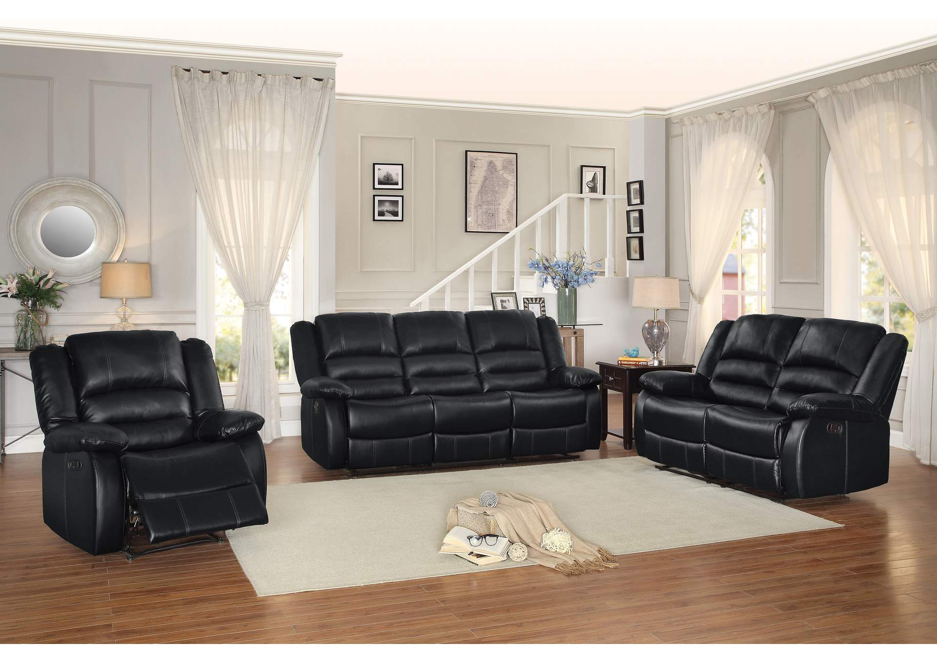 Black Double Reclining Sofa,Homelegance