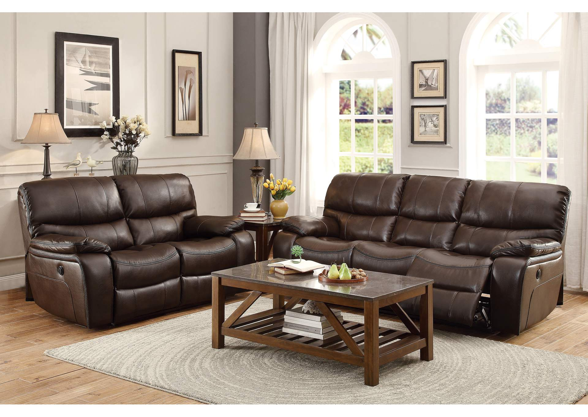 Dark Brown Power Double Reclining Sofa,Homelegance