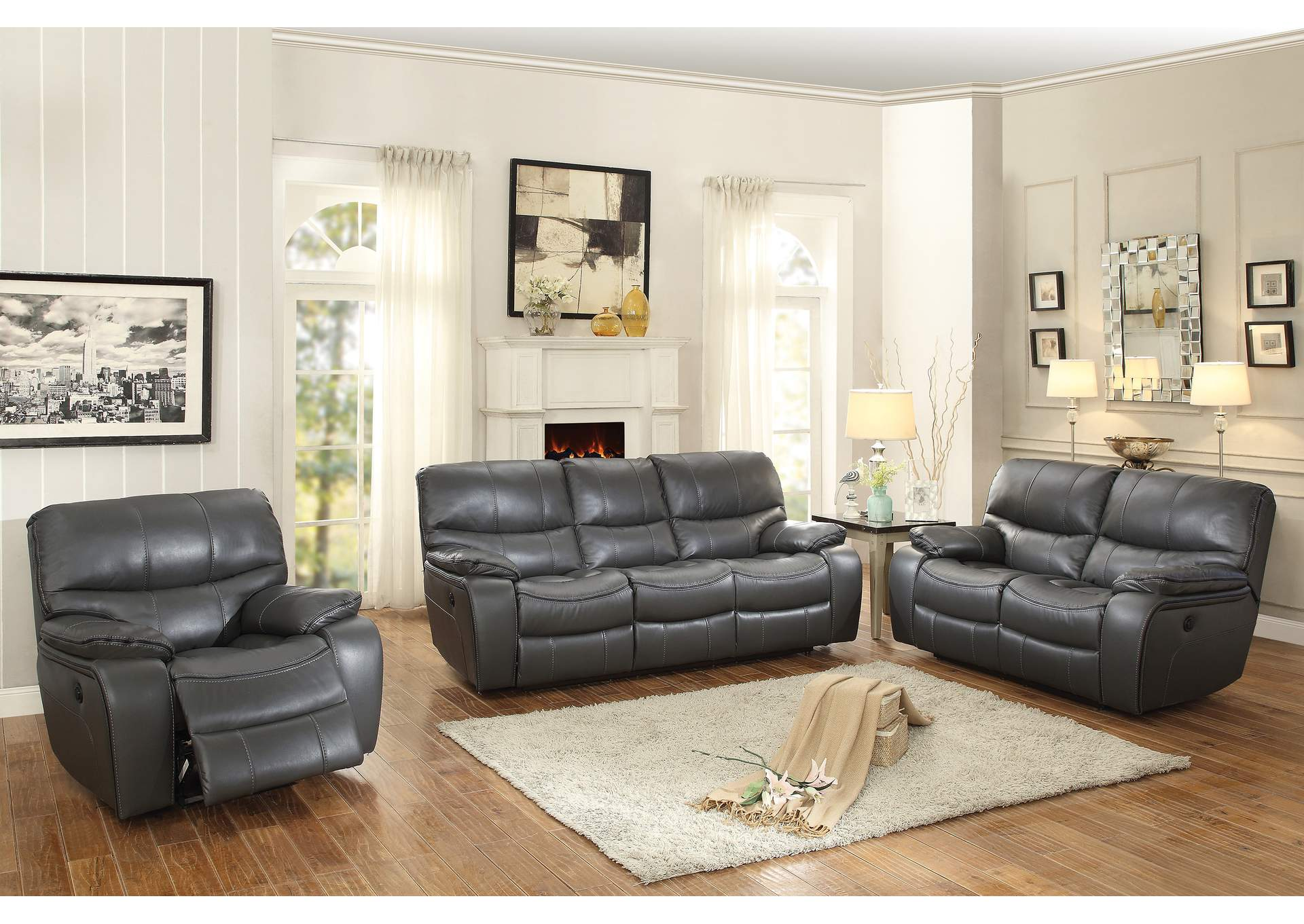 Gray Power Double Reclining Sofa,Homelegance