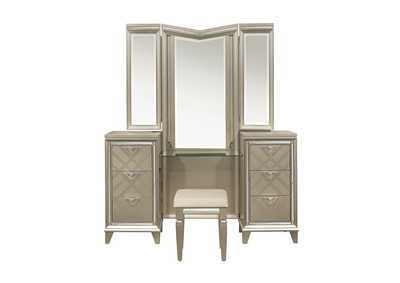 Image for Champagne Vanity Dresser with Mirror and LED Lighting