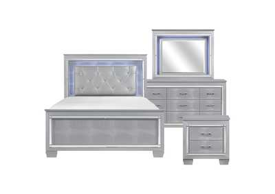 Image for Allura Silver Full 4 Piece Bedroom Set W/ Nightstand, Dresser & Mirror