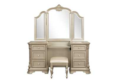 Image for Antoinetta Champagne Vanity Dresser with Mirror