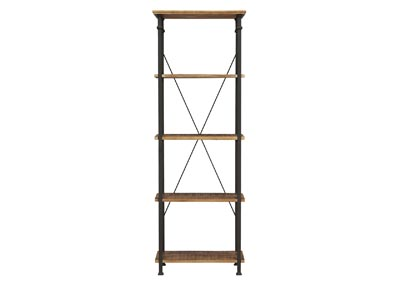 Image for Factory Poplar & Black Metal Bookcase