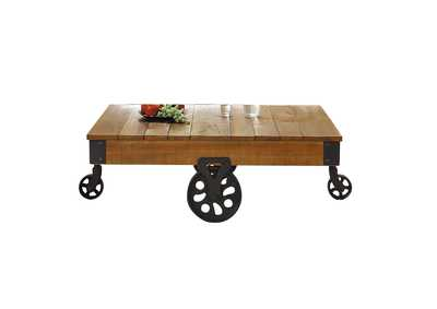 Image for Factory Brown Cocktail Table W/ Functional Wheels