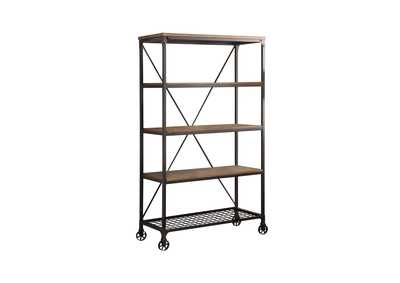 Image for Millwood Natural & Black Metal Bookcase