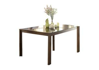 Brown Dining Table, Black Glass Insert,Homelegance