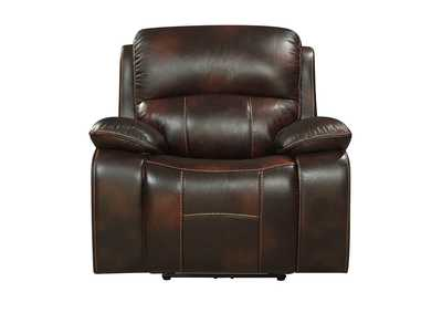 Dark Brown Power Reclining Chair with USB Port,Homelegance