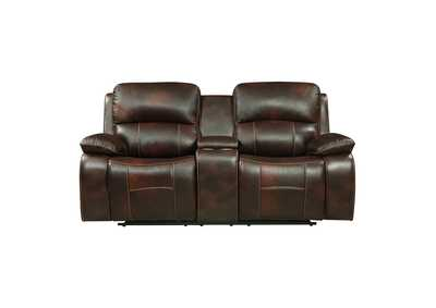 Dark Brown Power Double Reclining Love Seat with Center Console and USB Ports,Homelegance