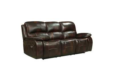 Dark Brown Power Double Reclining Sofa with USB Ports,Homelegance