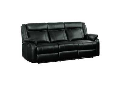 Black Double Reclining Sofa with Center Drop-Down Cup Holders
