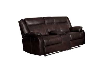 Brown Double Glider Reclining Love Seat with Center Console,Homelegance