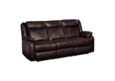 Image for Brown Double Reclining Sofa with Center Drop-Down Cup Holders