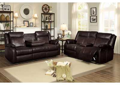 Brown Double Reclining Sofa with Center Drop-Down Cup Holders,Homelegance