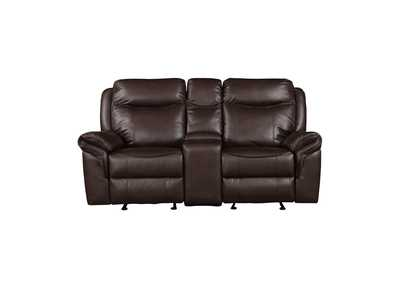 Image for Dark Brown Double Glider Reclining Love Seat with Center Console, Receptacles and USB Ports