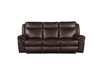 Dark Brown Double Reclining Sofa with Center Drop-Down Cup Holders, Receptacles, Hidden Drawer and USB Ports
