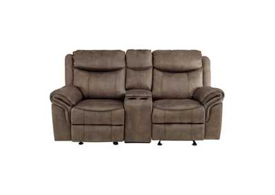 Image for Brown Double Glider Reclining Love Seat with Center Console, Receptacles and USB Ports