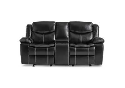 Image for Black Double Glider Reclining Love Seat with Center Console