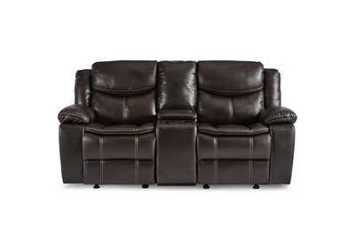Image for Brown Double Glider Reclining Love Seat with Center Console