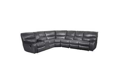 Gray 4-Piece Modular Reclining Sectional with Left Console,Homelegance
