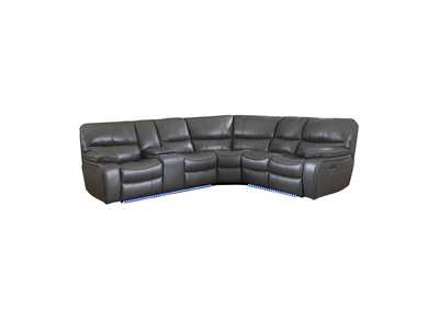 Gray 3-Piece Modular Power Reclining Sectional with Left Console and LED,Homelegance
