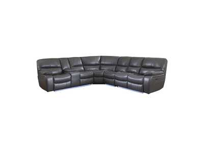 Gray 4-Piece Modular Power Reclining Sectional with Left Console and LED,Homelegance